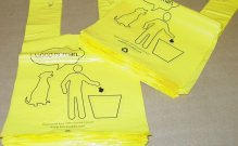 Hanging Dog Waste Bags-100 Count Bundles-Stock Print Bags-No Dispenser Waste-Tie Handles-Click for Pricing